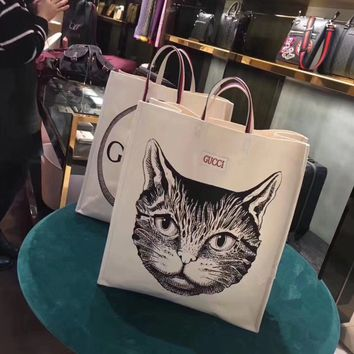 """Gucci"" Women Casual Fashion Cat Head Pattern Handbag Canvas Tote Shopping Bag"