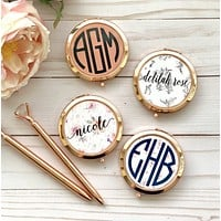 ROSE GOLD | GOLD  Compact Mirrors, Bridesmaid Gifts, Unique Bridal Shower Favors, Bridesmaid Mirrors, Personalized Gifts for Women
