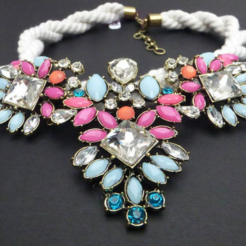 Light Blue, Pink, and Crystal Statement Necklace