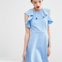 ASOS Skater Dress with Ruffle Neck