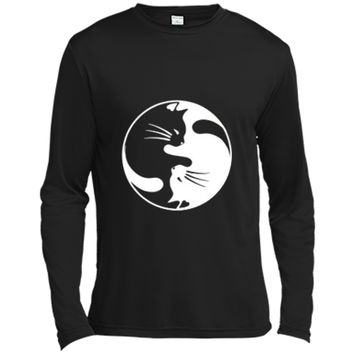 Black White Cat Yin and Yang  for Women and daddy Long Sleeve Moisture Absorbing Shirt