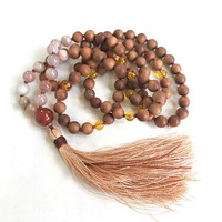 Sunstone Moonstone Mala Beads, Sandalwood Mala Necklace, Carnelian and Citrine Mala, Mala Beads 108, Meditation Mala, Knotted Silk Tassel