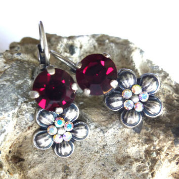 Swarovski crystal and flower drop earrings- Garnet Red, super cute, GREAT PRICE, Siggy designer inspired earrings