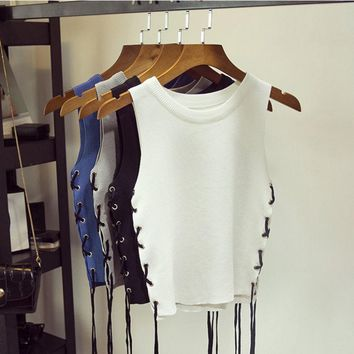 New Sexy Women Summer Camisole Side Strappy Knitted Crop Tops Midriff-baring Vest Slim Tank Tops 4Colors
