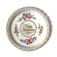 Vintage Tin Toleware Tray, Happy Anniversary, Hand Painted, Serving Tray