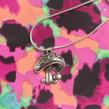 925 Sterling Silver Plated Mushroom Necklace
