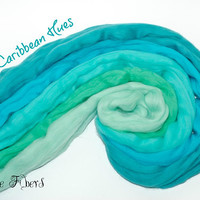 CARIBBEAN HUES -  From Mint to Turquoise - Merino Wool Roving Combed Top 5 colors gradient Spinning Wool - 4 oz