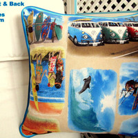 Surfs up – Surf blue retro pillow cover with piping 20x20