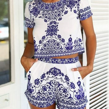 Blue Tile Print Short Sleeve Crop Top With Shorts