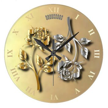 Two Golden And Silver Roses With Shadows Large Clock