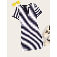 SHEIN Striped Print V Neck T-shirt Dress