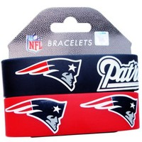 NFL New England Patriots Silicone Rubber Bracelet Set, 2-Pack
