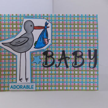 New Baby Congratulations! - Stork with Baby Handmade Greeting Card for Boy or Girl - Baby Shower - Pregnancy