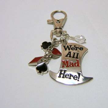 Silver Alice in Wonderland Mad Hatter Purse Clip ~ Key Chain - with Silver Card Charms & Dangle bead - Swivel Lobster Clasp - gift under 10