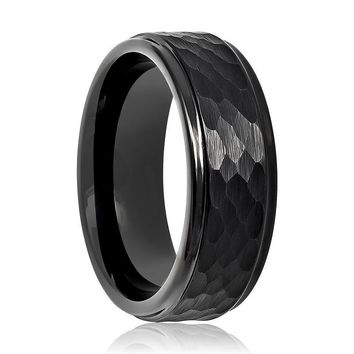 Aydins Tungsten Carbide Mens Band Black Hammered Stepped Edge 8mm Tungsten Wedding Ring