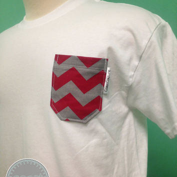 Bama White with Red and Grey Chevron Fabric Pocket Tee