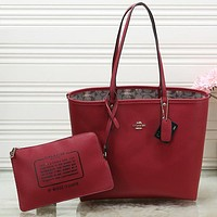 Perfect COACH Women Shopping Leather Tote Crossbody Satchel Shoulder Bag Set Two Piece