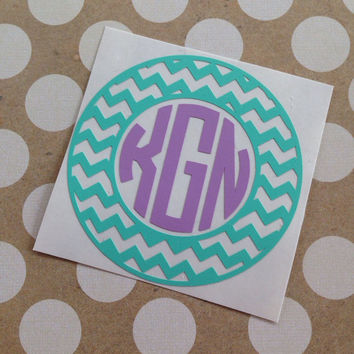 Monogrammed Chevron Circle Decal | Chevron Decal | Monogrammed Chevron Circle | Chevron Monogram |