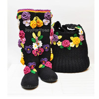 Summer Crochet Boho Boots for the Street + Boho Bag, Crochet Black Shoes, Floral Boho Bag, Boho Boots, Flower applique, Made to Order