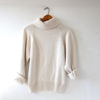 vintage natural white sweater. cropped sweater. turtleneck sweater. preppy minimalist. silk & cotton loose knit sweater.