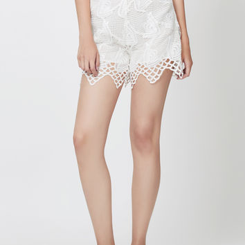 LE3NO Womens High Waisted Floral Crochet White Summer Shorts