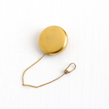 Antique Yellow Gold Washed Retractable Watch Chain Brooch Pin - Vintage Edwardian 1910s Round Chatelaine Lanyard Jewelry Signed Sturdy