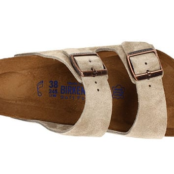 Birkenstock Arizona Soft Footbed  - Suede (Unisex) Taupe Suede - Zappos.com Free Shipping BOTH Ways