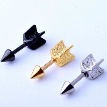 ac DCCKO2Q 1 Piece Gold Silver Black 316l Stainless Steel Tragus Ear Lovely Surgical Arrow Shape  Ear Helix body Piercing Jewelry