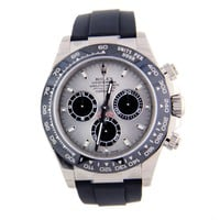 Rolex Daytona White Gold Grey Dial Ceramic Bezel Oysterflex 116519 40mm