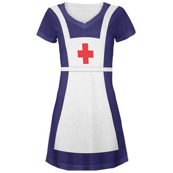 Halloween WWII 40's Nurse Costume All Over Juniors V-Neck Dress