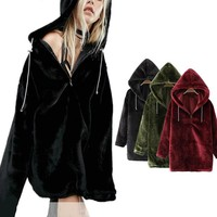 Fetoo 2017 Autumn Winter Thick Velvet Hoodies Women Hood Pullovers Solid Long Sleeve Zipper Female Sweatshirt Hooded Tops