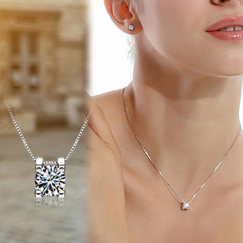 Luxurious Women Rhinestone Pendant Necklace Without Chain Silver Plated Jewelry Accessories (Color: White) = 1695595332