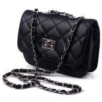 Black Diamond-Stich Quilted Crossbody Handbag with Laced Chain Strap