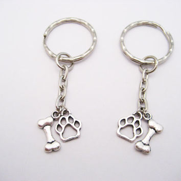 Dog Bone Keychain Set Dog Paw Keychain Dog Lovers Keychain Pet Lovers Gift Dog Bone and Paw Keychain Dog Parents Gift  Dog Person Gift