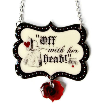 Red Queen Of Hearts Necklace Alice In Wonderland Jewelry Halloween Costume Black White Vintage Illustration
