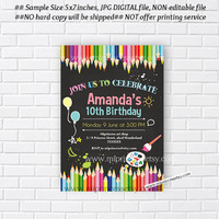 Art party, Birthday Party Invitations, any age for kids birthday invitation Party 5th 6th 7th 8th 9th 10th kids Fun art party - card 379