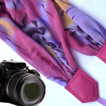 Pink, purple scarf camera strap.  Camera Strap. Camera accessories. Camera strap for Canon, Nikon, Fuji & other cameras. Graet gift.