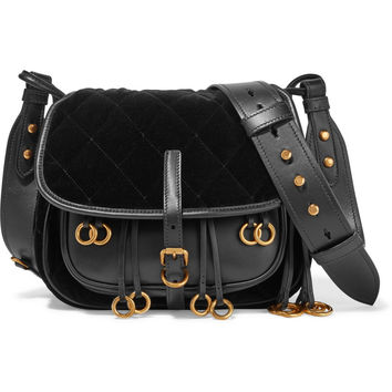Prada - Messenger leather and quilted velvet shoulder bag