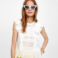 BLOUSE WITH CONTRASTING CUTWORK EMBROIDERY DETAILS