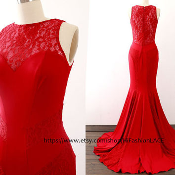 Mermaid Burgundy Prom Dresses, Lace Jersey Long Prom Gown , Jersey Formal Dresses, Evening Gown, Wedding Bridesmaid Dress