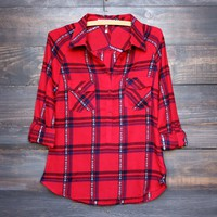 red plaid womens henley shirt