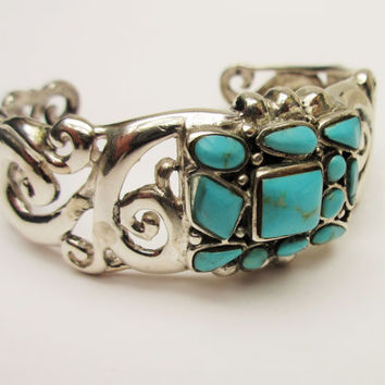 Turquoise Sterling  Cuff Bracelet Silver filigree