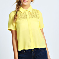 Lucie Lace Back Crop Half Sleeve Shirt