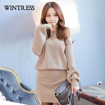 WINTRESS Off The Shoulder Long Sleeve Winter Women Dress Solid Package Hip Fashion Knitted Women Dress One Size Female Clothes