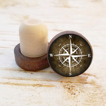 Compass Wine Stopper, Nautical Bottle Stopper, Dark Wood T-Top, Wedding Favors, Housewarming Gift, Beach Decor, Wood Top Cork Stopper