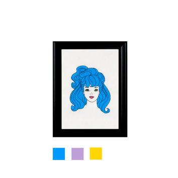 Barbie Head Blue Purple Yellow Print Framed Wall Hanging