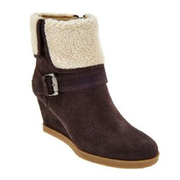 Isaac Mizrahi Live! Suede Wedge Ankle Boots With Faux Sherpa