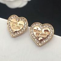 MICHAEL KORS MK New Fashion Diamond loving heart Earrings Golden