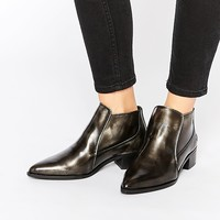 Bronx Brushed Leather Pewter Pointed Toe Ankle Boots