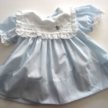 Vintage Baby Dress - Blue with lacy bib - size 3-6 months